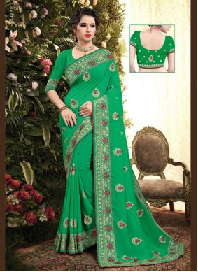 Georgette Embroidered Green Classic Saree