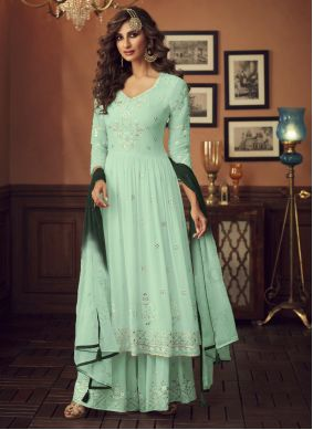Georgette Embroidered Green Designer Palazzo Suit