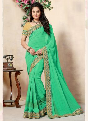 Georgette Embroidered Green Traditional Saree