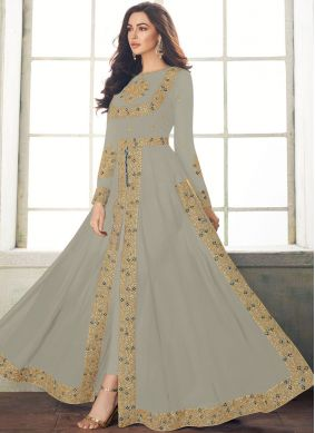 Georgette Embroidered Grey Designer Salwar Suit