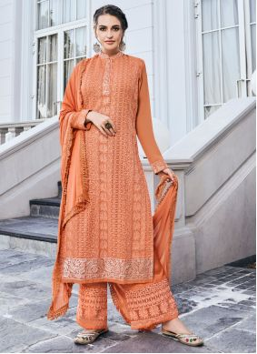 Georgette Embroidered Orange Trendy Palazzo Salwar Kameez