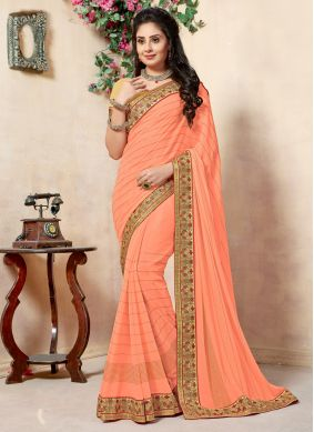 Georgette Embroidered Peach Designer Traditional Saree