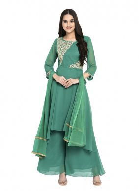 Georgette Embroidered Readymade Salwar Kameez in Green
