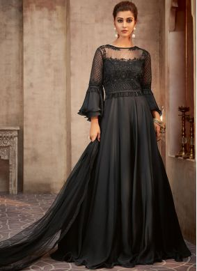 Georgette Embroidered Salwar Kameez in Black