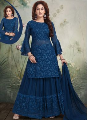 Georgette Embroidered Salwar Suit in Blue