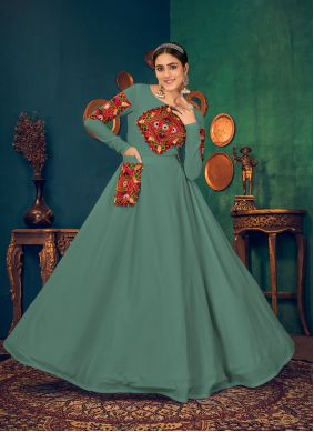 Georgette Embroidered Sea Green Floor Length Gown