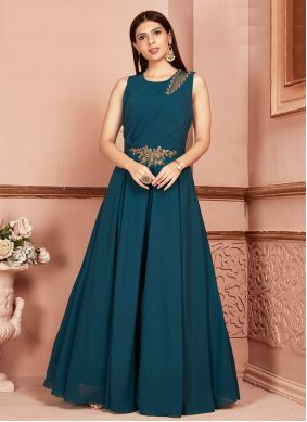 Georgette Embroidered Teal Readymade Suit