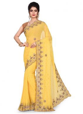 Georgette Embroidered Yellow Designer Traditional Saree