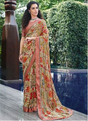 Multi Colour Georgette Festival Designer Saree