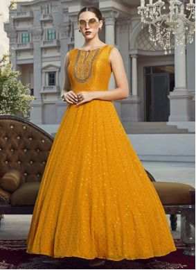 Mustard Georgette Festival Readymade Gown