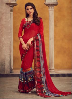 Red Georgette Festival Traditional Saree