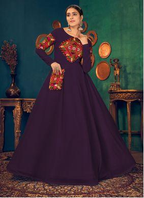 Georgette Floor Length Gown in Purple