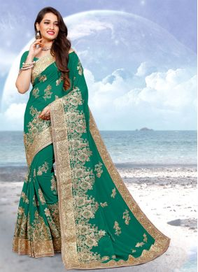 Georgette Green Embroidered Classic Designer Saree