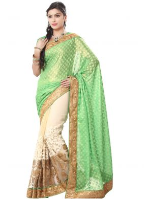 Georgette Green Embroidered Trendy Saree