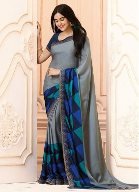 Georgette Grey and Navy Blue Casual Saree