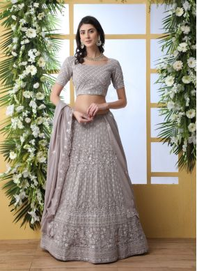 Georgette Grey Thread A Line Lehenga Choli