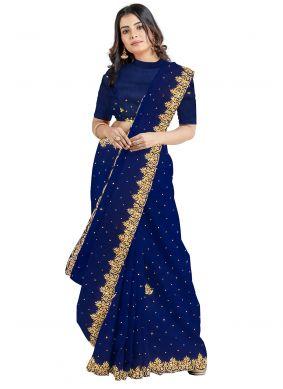 Blue Georgette Mehndi Designer Saree