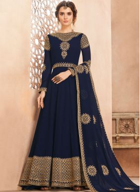Georgette Navy Blue Embroidered Anarkali Salwar Suit