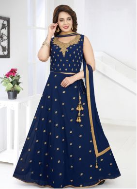 Georgette Navy Blue Embroidered Salwar Kameez