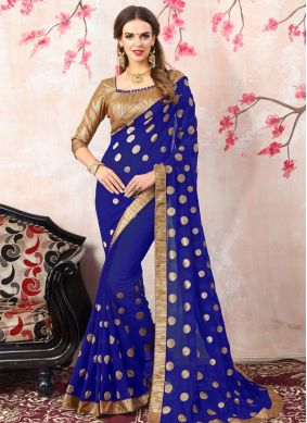 Georgette Navy Blue Embroidered Work Bollywood Saree