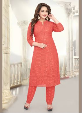 Georgette Peach Embroidered Salwar Suit