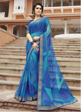 Georgette Printed Blue Contemporary Saree