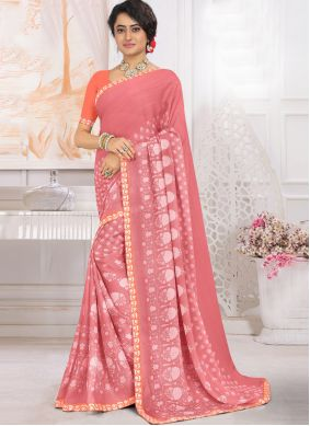 Georgette Printed Peach Traditional Saree