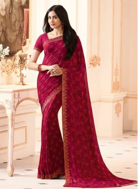 Georgette Printed Red Casual Saree