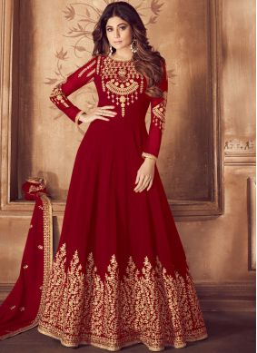 Georgette Red Anarkali Salwar Suit