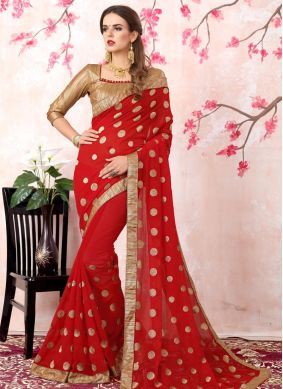 Georgette Red Bollywood Saree