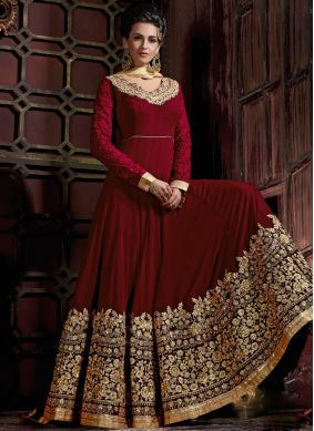 Georgette Red Embroidered Anarkali Salwar Kameez