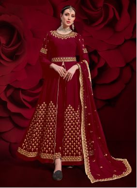 Georgette Red Embroidered Pant Style Suit