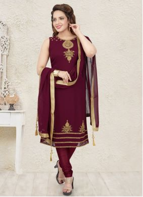 Georgette Salwar Suit in Maroon