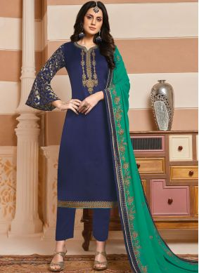 Georgette Satin Blue Embroidered Designer Salwar Kameez