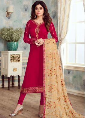 Georgette Satin Embroidered Churidar Designer Suit in Red