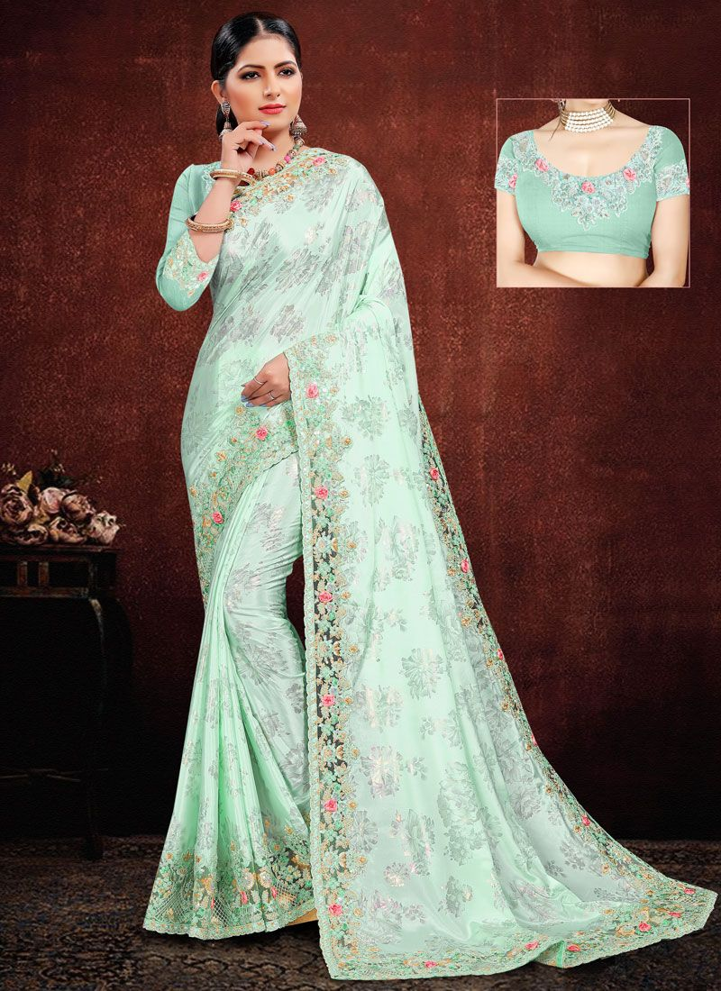 Georgette Satin Embroidered Green Classic Saree