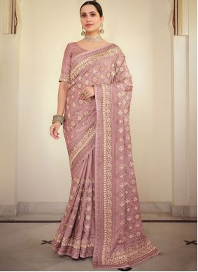 Georgette Satin Embroidered Pink Classic Saree