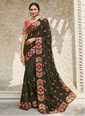 Georgette Satin Black Embroidered Traditional Saree