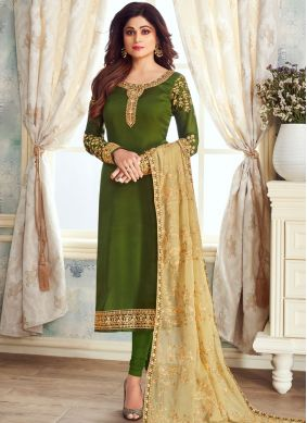 Georgette Satin Green Embroidered Churidar Suit