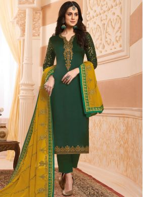 Georgette Satin Handwork Designer Salwar Kameez in Green