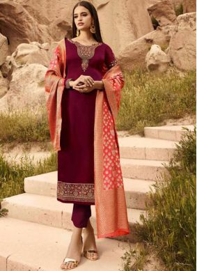 Georgette Satin Magenta Designer Straight Suit