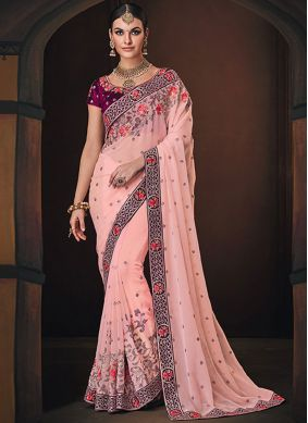 Georgette Satin Pink Traditional Saree