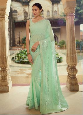 Georgette Sequins Green Classic Saree