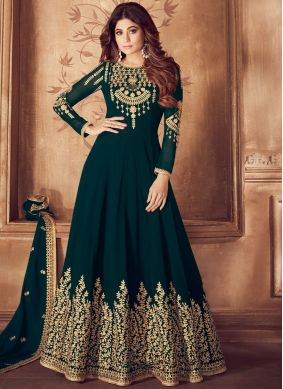 Georgette Teal Zari Anarkali Suit