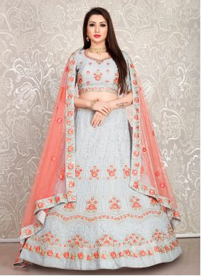 Georgette Thread Bollywood Lehenga Choli in Grey