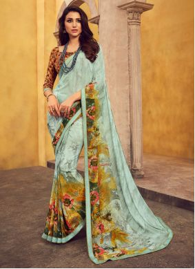 Georgette Turquoise Lace Casual Saree