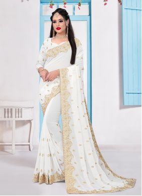 Georgette White Embroidered Bollywood Saree