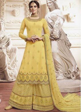 Georgette Yellow Embroidered Salwar Suit