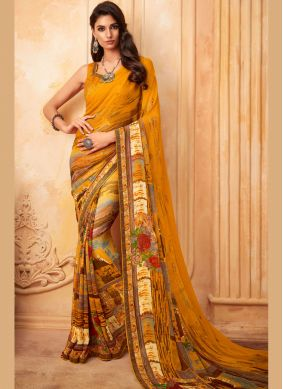 Georgette Yellow Fancy Printed Saree