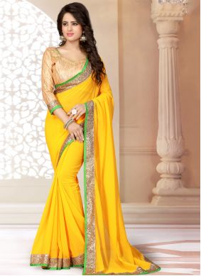Georgette Yellow Lace Saree